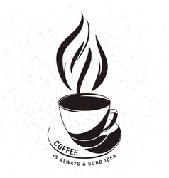 aroma cup of coffee with vector image vector image