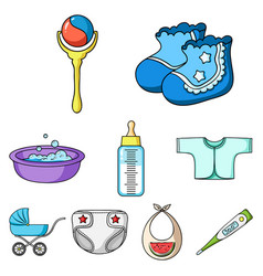baby born set icons in cartoon style big vector image