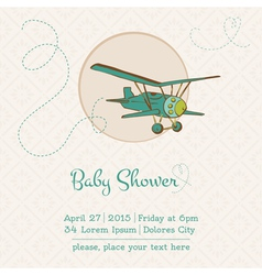 Baby shower or arrival card with plane vector