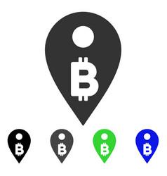 Bitcoin map marker icon vector