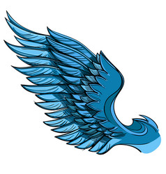 blue wing isolated on white background design vector image vector image