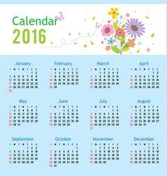 calendar 2016 flower cute cartoon vector image vector image