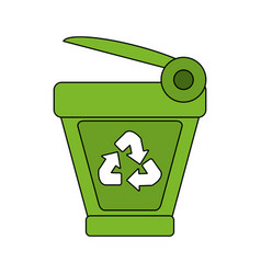 Color image cartoon trash can with recycling vector
