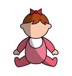 Cute girl baby avatar character vector
