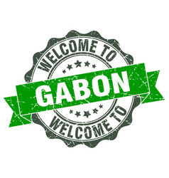 Gabon round ribbon seal vector