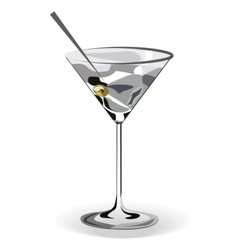 Glass of martini cocktail vector