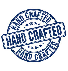 Hand crafted blue grunge stamp vector