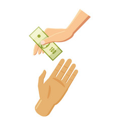 hand giving money icon cartoon style vector image vector image