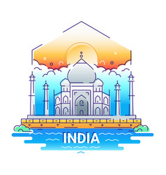 India - modern line travel vector