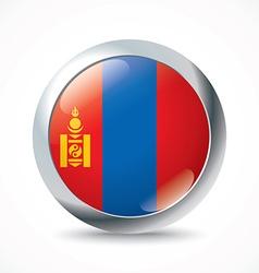 Mongolia flag button vector image