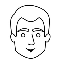 Monochrome contour of guy face with short hair vector