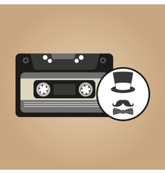 music cassette hat mustache bow tie vintage vector image