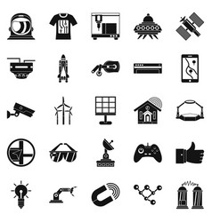 Near future icons set simple style vector