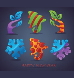 New year and christmas signs elements and icons vector