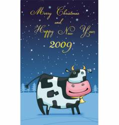 new year friendly cow vector image vector image