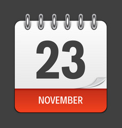 november 23 calendar daily icon vector image