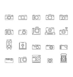photo camera signs black thin line icon set vector image vector image