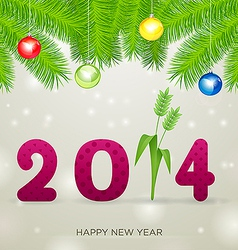 Pink 2014 with flower New Year vector image vector image