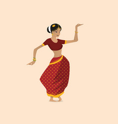 pretty indian woman dancing wearing sari vector image vector image