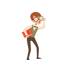 Quirky boy character holding book in hand nerd vector