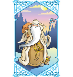 santa claus in winter frame vector image vector image