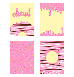Set of bright food cards set of donuts with pink vector