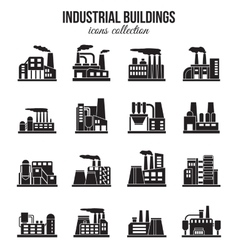 Set of industrial manufactory buildings icons set vector