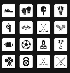 Sport equipment icons set squares vector