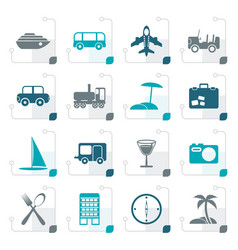 stylized travel transportation tourism vector image vector image