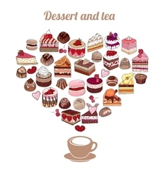 Symbol heart made of different desserts cake vector
