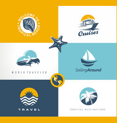 travel vacation tour logo designs collection vector image vector image