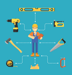 Worker builder in uniform and helmet vector