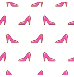 Pink shoe line icon seamless pattern vector