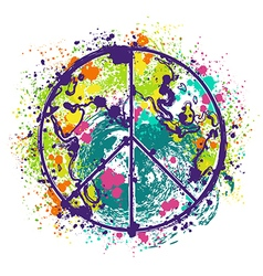 Hippie peace symbol on earth globe background vector