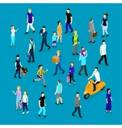 People in crowd isometric collection vector