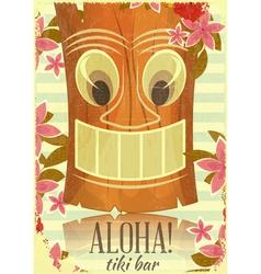 Vintage Hawaiian Tiki postcard vector image