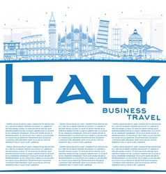Outline Italy Skyline with Blue Landmarks vector image