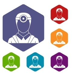 Ophthalmologist with head mirror icons set vector