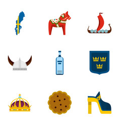 Symbols of sweden icons set flat style vector