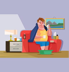 Sick ill sad man character having cold hold cup vector