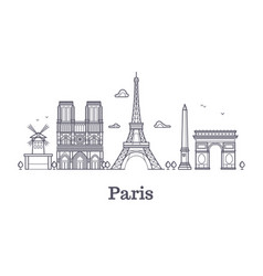 French architecture paris panorama city skyline vector