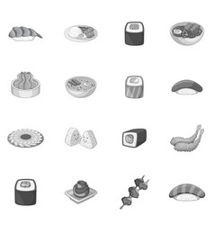 japanese food icons set monochrome vector image