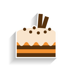 Chocolate sponge cake with whipped cream flat vector