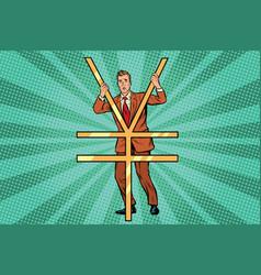 businessman behind bars ian money vector image