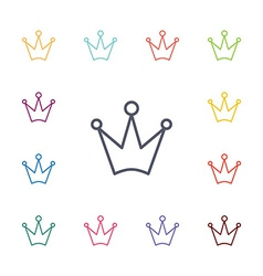 Crown flat icons set vector