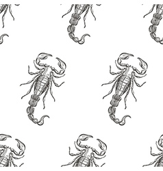 Hand drawn engraving scorpion seamless pattern for vector