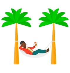 Man chilling in hammock vector