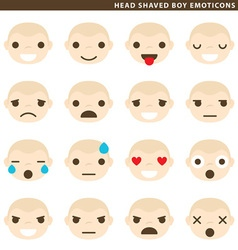 Head shaved boy emoticons vector