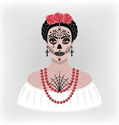Girl with makeup for day of the dead vector