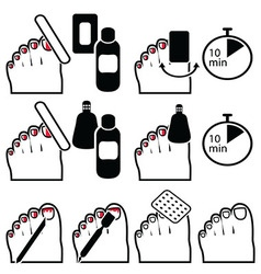 Gel pedicure removal icons in colour vector